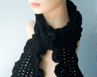 Black  Ruffled  Scarf,  Hand Crocheted Scarf, Women's  Scarf,  Vegan, Ruffle Scarf