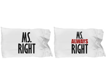 Ms Right and Always Right LGBT Lesbian Pillowcases (SET of 2) Gift Pride Matching Couple Love Wins