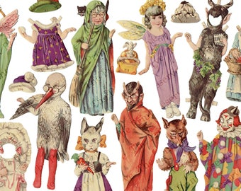 Printable Paper Dolls The Costume Ball 6 Dolls on 6 Pages Vintage S&C Instant Digital Download