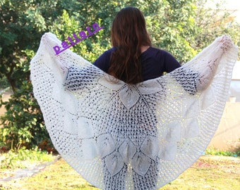 Knit Shawl Pattern Tutorial Lace shawl pattern  Wedding shawl Knitting patterns Wrap pattern Bridal shawl pattern