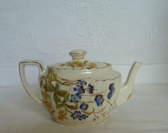 Antique Victorian Small Teapot 1880s Stoke Pottery Staffordshire a/f
