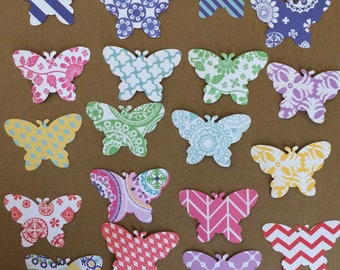 55 - 1.5 inch Butterfly Die Cuts for Paper Crafts Assorted Prints Set 34