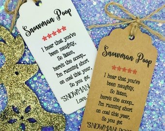 Snowman Poop Poem- Christmas Card/ Gift Tag Xmas Party Present, Tree Tie Wrap