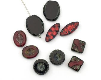 10 Picasso Czech glass beads mix,10mm to 18mm #PV 144