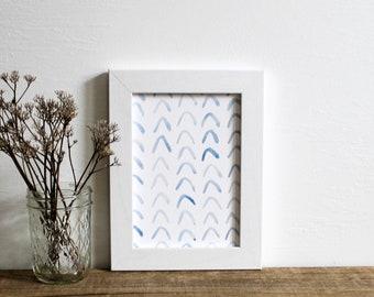 blue indigo chevron wall art print - nursery decor watercolor 5x7 painting home decor modern art
