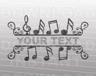 Music Notes Split SVG File Cutting Template - Clip Art for Commercial and Personal Use- vector art file for Cricut,SCAL,Cameo,Sizzix,Pazzles