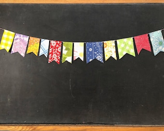 Vintage Fabric Bunting - Colorful Party Garland - Mini Flag Bunting Banner - Celebration Party Wedding Decor - Vintage Nursery