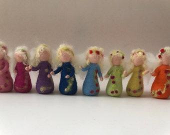 Little Fairies. Hand-felted. Wet  felted Waldorf.Elf,Fairy