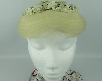 1950's Wedding Hat with Flower Trim