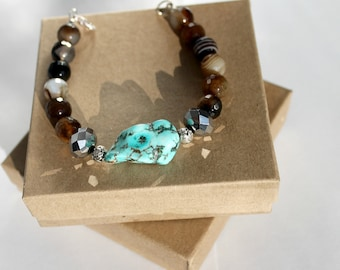 Turquoise Beaded Bracelet, Turquoise, Onyx Bracelet, Blue and Brown Bracelet