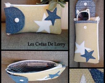 Glasses 2 in 1 case wallet faux beige glittery star jeans