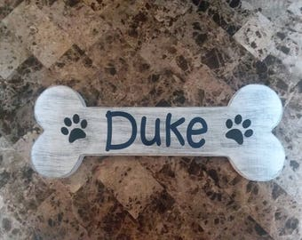 Dog Sign with Name and Paws - Personalized Dog Bone Sign - Dog Name Sign - Bone Sign - Distressed - Paws - Funny Dog Sign - Cute Dog Sign