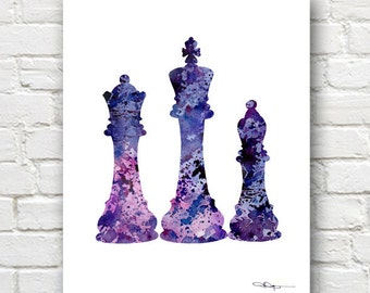 Chess Pieces Art Print -Abstract Watercolor Painting -  Wall Decor