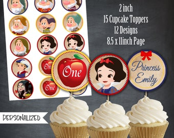 Snow White Cupcake Toppers, Snow White Tags, Birthday Favors, Snow White Party, Birthday Favors, Personalized, Printables, Digital,DIY