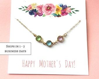 Mother's Day Gift, Birthstone Necklace for Mom, Personalized Mothers Gift, Family Tree Necklace, Grandma Necklace,