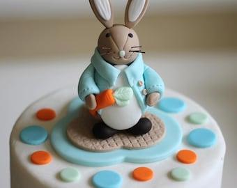 Fondant Cake Topper - Whimsical 3D Rabbit Cake Topper Fondant Figure - Matches Our Cupcake Toppers
