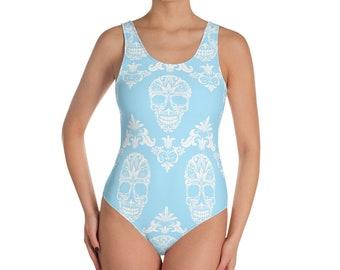 blue victorian skulls One-Piece Swimsuit