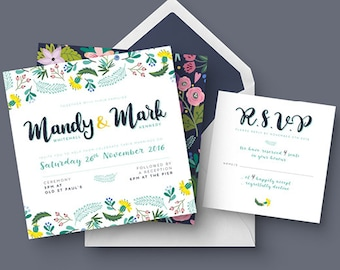 Spring Wedding Invitation Set | Floral Wedding Set | RSVP | Printable Digital File