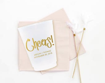 Cheers Wedding Cups Personalized Wedding Party Cups Frosted Cups for Wedding Custom Printed Plastic Cups Monogrammed Wedding Bar Cups
