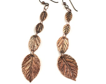 Extra Long 3 Inch Copper Leaf Dangly Earrings with Niobium Ear Wires