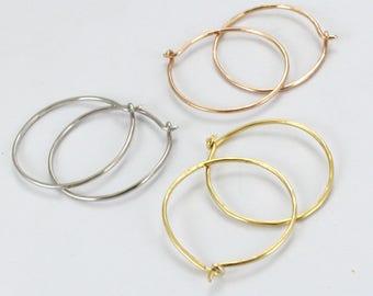 """Silver Hoops Earrings, Big Wire Earrings, 14K Gold Plated Hoops, Earrings For Women, 1"""" Hoop Earrings, Thin Hoops"""