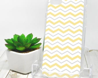 Gray Yellow Chevron iPhone 7 Case - Pattern with Alternating Yellow Gray and White Zigzags - iPhone 7 Plus Case