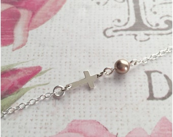 Custom Baby Necklace - Small Child Necklace - Tiny Cross Necklace for Children - Infant jewelry - Newborn Baptism Gift - Christening Gift