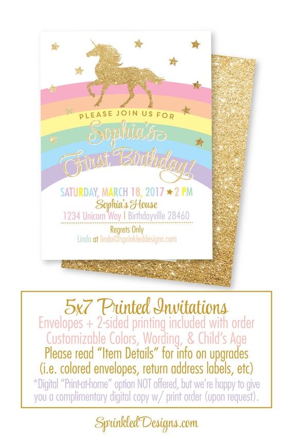 Unicorn birthday invitation cards girls magical unicorn stopboris Choice Image