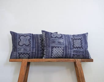 """15"""" by 24"""" Set of 2 Extra Large Vintage Hmong Hill Tribe Lumbar Cushion Covers Ethnic Batik Thai"""