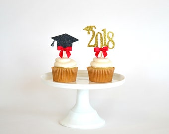 Graduation Cupcake Toppers - Class of 2018 Cupcake Toppers - Graduation Party Decorations - 2018 Cupcake Toppers - Congrats Grad Party