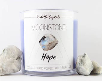 Moonstone Crystal Candle / Crystal Candle / Coconut / Soy Candle / Hope