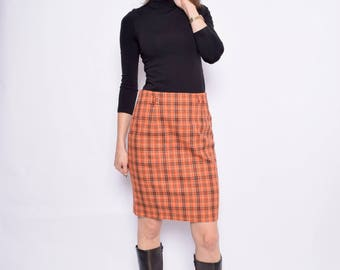 Vintage 90's Plaid Orange Skirt / Plaid Mini Skirt / Plaid Wool Skirt - Size Medium