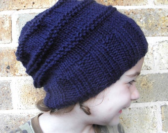 Slouchy hat toddler children child beanie navy blue winter slouch 2T-5T years old  hand knit beanie boy girl preschooler CHOOSE COLOUR