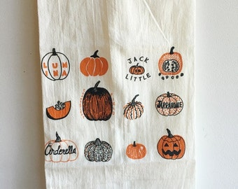 Pumpkin Tea Towel, Halloween Tea Towel, Flour Sack Tea Towel, Hostess Gift