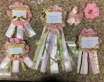 pink and gold baby shower corsage set