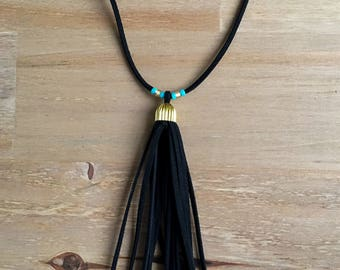 Black, Gold and Turquoise Faux Suede Tassel Long Necklace
