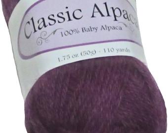Classic Alpaca 100% Baby Alpaca Yarn #1821 Brambleberry Purple by The Alpaca Yarn Company - 110 yds per 50g