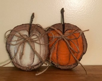 Wood Slice Pumpkin/Rustic Fall Decor/ Halloween decor