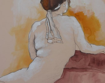orignal figure drawing-mixed media female figure in orange and purple