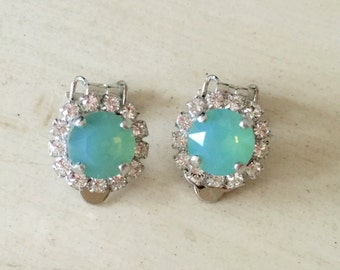 Swarovski Pacific Opal and Clear Swarovski Crystal Clip On Earrings, Silver