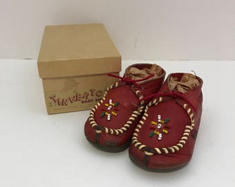 ON SALE!! Vintage Tinker Tots Red Beaded Baby Moccasins Sz 2 in Original Box