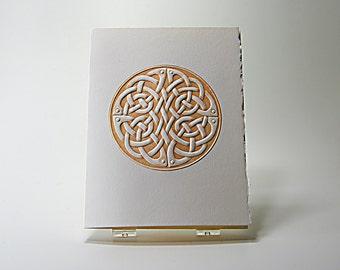 Celtic Round Knot Card. Letterpress. Embossed Love Knot Card. Single Card. Blank Inside.