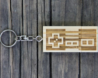 Personalized Wood USB Flash Drive Keychain - 4 GB Bamboo Gamer Thumb Drive Key chain - 8 bit Game Controller - Old School Video Games