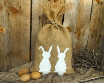 Easter Bunny Gift Bag Burlap Easter Gift Bag Easter Basket Easter Decor Spring Burlap Gift Bag Spring Gift Rustic Easter Decor Burlap Bag