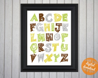 Alphabet Nursery Decor - green, yellow and brown - Art for Your Baby Room