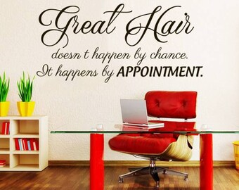 Great Hair doesn't happen by chance Wall Decal Quote Beauty Hair Salon Decor Makeup Cosmetic Hairdressing Wall Decals Interior NV190