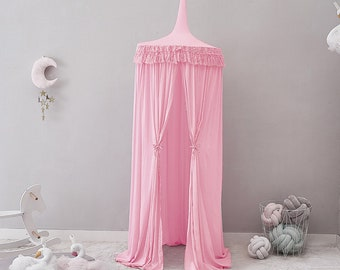 Bed canopy, crib canopy for girl with tassels ( pink, gray, white) baby bed canopy, play canopy, bed tent for kids
