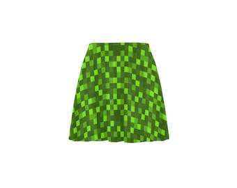 Gamer Skirt neon green Pixel girls funky funny light and dark green printed fashion piece unique style flared circle A Line fancy clothes
