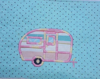 Camper Bag / Cosmetic Pouch / Quilted / Make Up Bag / RV / Toiletry  Pouch / Shabby Chic / Gift for Her / Glamping