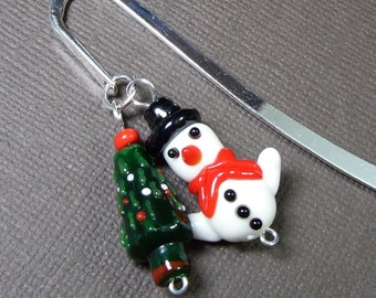 Bookmark - snowman and Christmas tree on silver bookmark - keep the holiday spirit year round - great stocking stuffer -Free Shipping USA